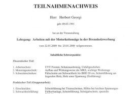 """Zertifikat """"Arbeiten mit der Motorkettensäge in der Brennholzerwerbung"""""""