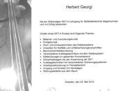 """Zertifikat """"Seilklettertechnik in der Baumpflege SKT-A"""""""